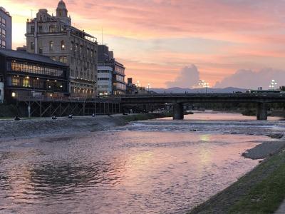 夕日と四条大橋